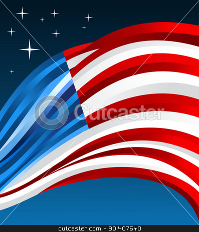 USA flag illustration background stock vector clipart, US flag illustration fluttering on blue background. Vector file available. by Cienpies Design