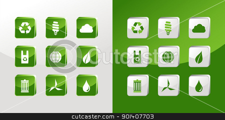 Go Green icons glass stock vector clipart, Environment icons glass set over light and dark background. Vector file available by Cienpies Design