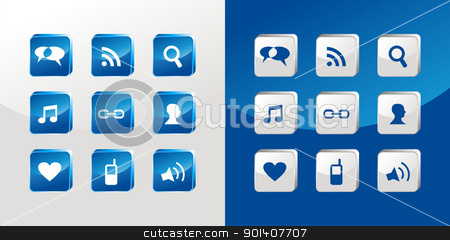 Social media icons glass stock vector clipart, Social media icons glass set over light and dark background. Vector file available by Cienpies Design
