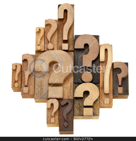 question mark abstract stock photo, decision making or brainstorming concept - a collection of question marks - vintage wood letterpress printing blocks by Marek Uliasz