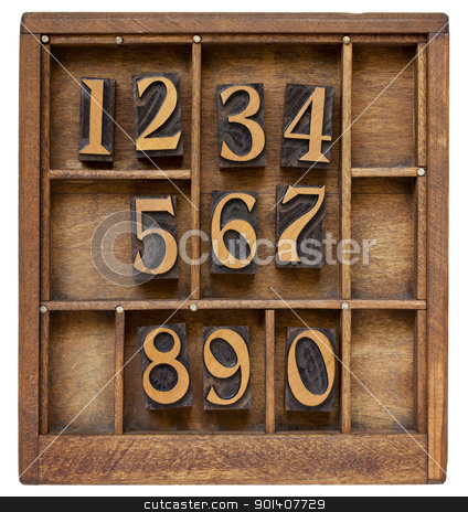 numbers in letterpress type stock photo, ten arabic numerals from zero to nine, vintage wood letterpress blocks stained by black ink in old typesetter case with dividers by Marek Uliasz