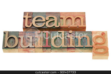 team building stock photo, team building - isolated words in vintage wood letterpress printing blocks by Marek Uliasz