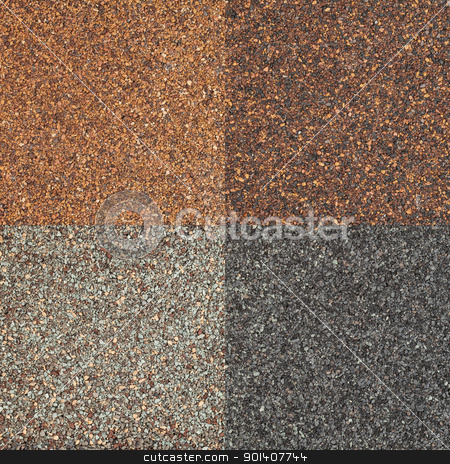 roof shingle texture stock photo, four textures of high impact asphalt roof shingles in different tones of brown and gray color by Marek Uliasz