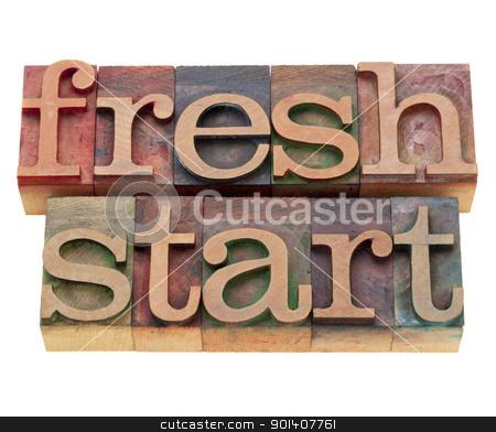 fresh start stock photo, fresh start - isolated words in vintage wood letterpress printing blocks by Marek Uliasz