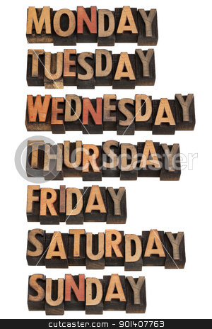 seven days of week stock photo, 7 days of week from Monday to Sunday in vintage wood letterpress printing blocks, isolated on white by Marek Uliasz