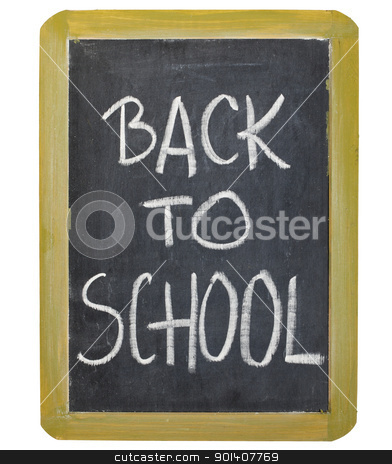back to school on blackboard stock photo, back to school  - white chalk handwriting on a small grunge slate blackboard, isolated on white by Marek Uliasz