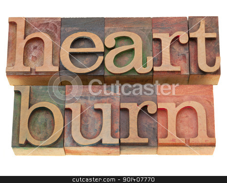 heartburn word in letterpress type stock photo, heartburn - isolated word in vintage wood letterpress printing blocks by Marek Uliasz