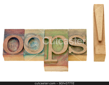 oops exclamation in letterpress type stock photo, dismay or surprise cponcept - oops exclamation - isolated word in vintage wood letterpress printing blocks by Marek Uliasz