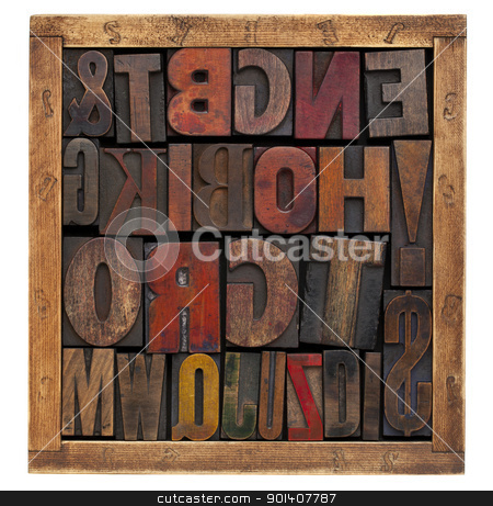 vintage wood type blocks stock photo, a variety of vintage letterpress printing blocks in a small wooden  box isolated on white by Marek Uliasz