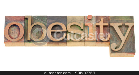 obesity word in letterpress type stock photo, obesity- isolated word in vintage wood letterpress printing blocks by Marek Uliasz