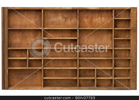 vintage printer drawer stock photo, vintage wood  printer  (typesetter) drawer with numerous dividers, isolated on white by Marek Uliasz