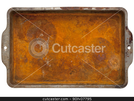 rusty metal tray stock photo, rusty grunge metal tray  with rough texture isolated on white with clipping path by Marek Uliasz