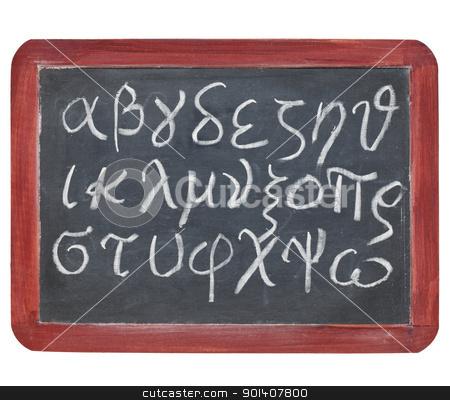 Greek alphabet on blackboard stock photo, Greek alphabet from alpha to omega - white chalk handwriting on a small slate blackboard by Marek Uliasz
