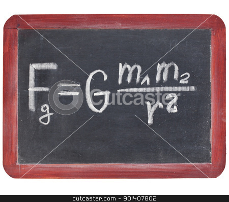 Newton gravity law stock photo, physics education concept - Newton gravity law on a small slate blackboard by Marek Uliasz