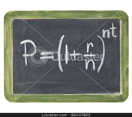 compound interest equation stock photo, compound interest equation - white chalk handwriting on a small slate blackboard, isolated with clipping path by Marek Uliasz