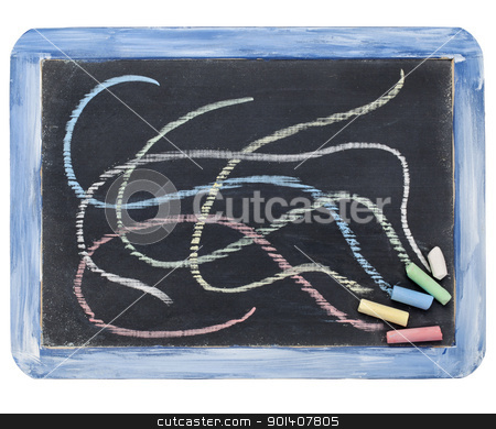 slate blackboard and chalk stock photo, small slate blackboard and color chalk, isolated on white by Marek Uliasz