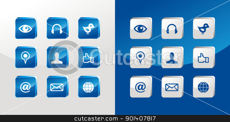 Social media icons set stock vector clipart, Social media icons glass set over light and dark background. Vector file available by Cienpies Design