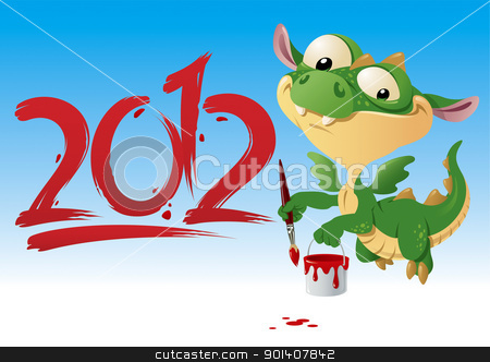 Dragon-2012 stock vector clipart, Little jolly fairy Dragon painting 2012, vector illustration by Vlad3563