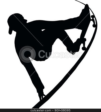 Skateboarding Vert Ramp Grab stock vector clipart, Skateboarding Skater do Grab Turn on Vert Ramp by Snap2Art