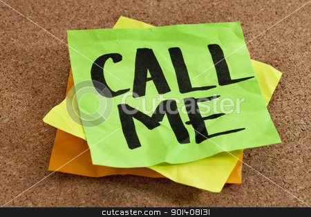 call me on sticky note stock photo, call me on sticky note posted on a cork board by Marek Uliasz