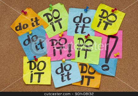 do it - procrastination concept stock photo, fighting procrastination concept - do it phrase on color sticky notes posted on a cork bulletin board by Marek Uliasz