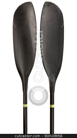 Carbon fiber kayak paddle stock photo, narrow blades of carbon fiber wing kayak paddle, warn out and scratched in river marathon racing, isolated on white by Marek Uliasz
