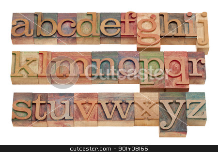 English alphabet in wood letterpress type stock photo, complete English alphabet (lowercase) in vintage wooden letterpress printing blocks stained by color inks, isolated on white by Marek Uliasz