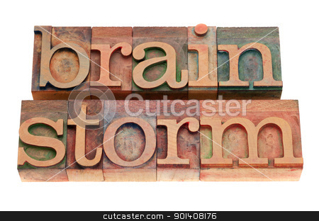brainstorm word in letterpress type stock photo, brainstorm word in vintage wood letterpress printing blocks, stained by color inks, isolated on white by Marek Uliasz