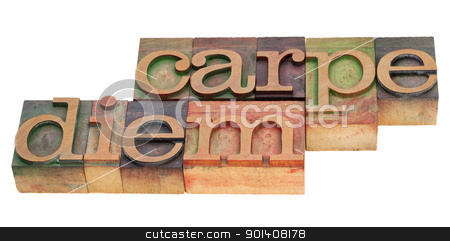 carpe diem in letterpress type stock photo, Enjoy life before it is too late, existential cautionary Latin phrase - Carpe Diem  in vintage wood letterpress type, stained by color inks, isolated on white by Marek Uliasz