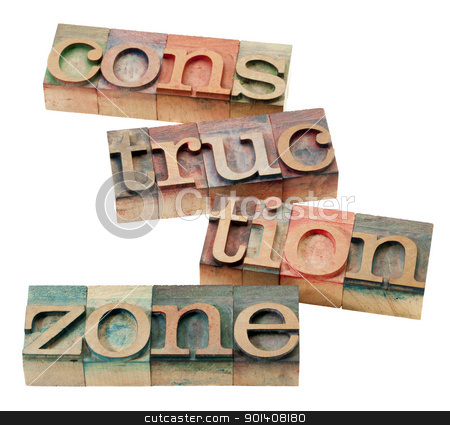 construction zone stock photo, construction zone -  isolated word abstract in vintage wood letterpress printing blocks by Marek Uliasz