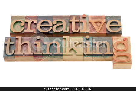 creative thinking stock photo, creative thinking - isolated phrase in vintage wood letterpress printing blocks by Marek Uliasz