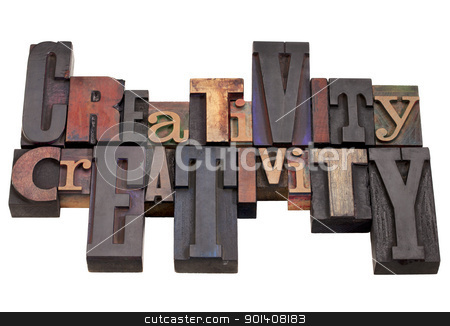 creativity word abstract stock photo, creativity word abstract in vintage wood letterpress printing blocks, different sizes and styles, isolated on white by Marek Uliasz