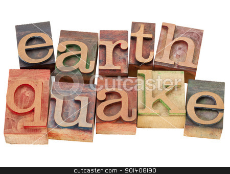 earthquake in letterpress type stock photo, earthquake - isolated word in vintage wood letterpress printing blocks by Marek Uliasz