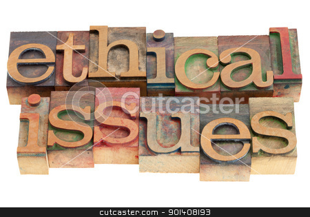 ethical issues stock photo, ethical issues words in vintage wood letterpress printing blocks, isolated on white by Marek Uliasz