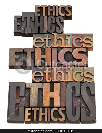 ethics word collage stock photo, ethics word collage in vintage wood letterpress printing blocks, isolated on white, variety of fonts by Marek Uliasz