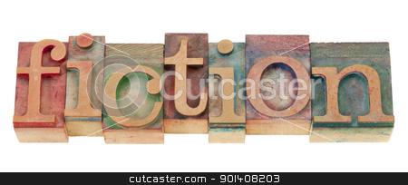 fiction in wood letterpress type stock photo, fiction - isolated word n vintage wood letterpress printing blocks by Marek Uliasz