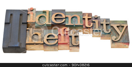 identity theft in letterpress type stock photo, identity theft - isolated phrase in vintage wood letterpress printing blocks by Marek Uliasz