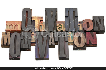 motivation word in letterpress type stock photo, motivation word abstract - antique wood letterpress printing blocks of different size and style isolated on white by Marek Uliasz
