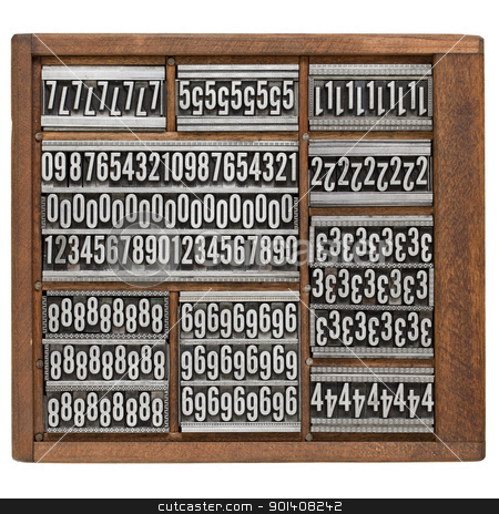 number abstract in letterpress type stock photo, numbers and ornaments - vintage metal printing blocks in wood retro typesetter box, isolated on white by Marek Uliasz