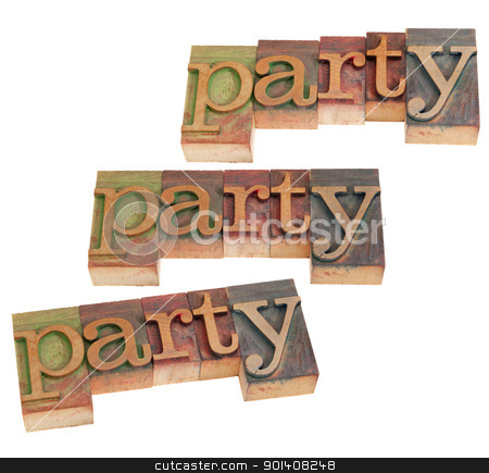 party - word in letterpress type stock photo, party word in vintage wood letterpress printing blocks, three layouts, stained by color inks, isolated on white by Marek Uliasz