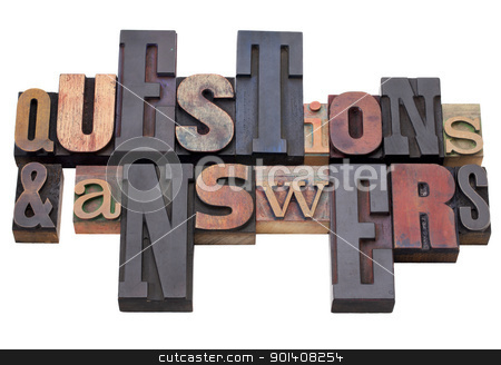 questions and answers stock photo, questions and answers - word abstract in antique wood letterpress printing blocks, isolated on white by Marek Uliasz