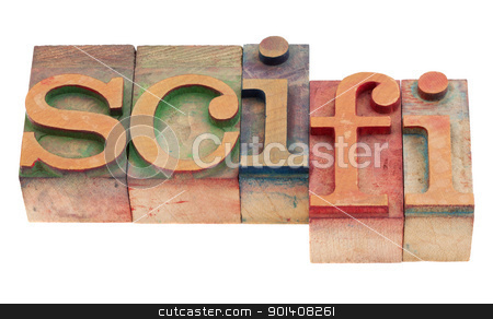 science fiction stock photo, sci-fi - science fiction acronym  in vintage wood letterpress printing blocks, stained by color inks, isolated on white by Marek Uliasz