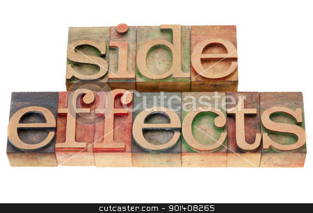 sideeffects word in letterpress type stock photo, side effects - isolated word in vintage wood letterpress printing blocks by Marek Uliasz