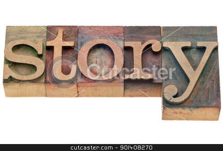 story word in letterpress type stock photo, story - isolated word in vintage wood letterpress printing blocks by Marek Uliasz