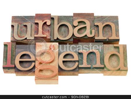 urban legend in wood letterpress type stock photo, urban legend - isolated phrase in vintage wood letterpress printing blocks by Marek Uliasz