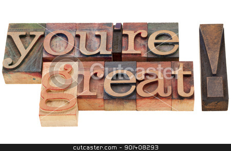 you are great compliment  stock photo, you are great compliment  - isolated words in vintage wood letterpress printing blocks by Marek Uliasz