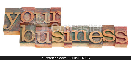 your business in letterpress type  stock photo, your business words in vintage wood letterpress printing blocks, stained by color inks, isolated on white by Marek Uliasz
