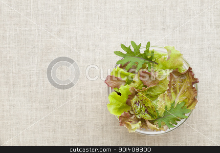 mixed baby lettuce bowl stock photo, a glass bowls of green and red baby lettuce mix against tablecloth by Marek Uliasz