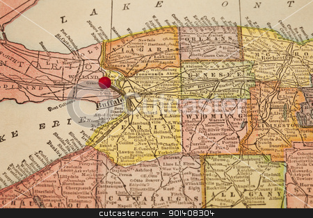 Buffalo on a vintage map stock photo, Buffalo and part of New York state on vintage 1920s map with a red pushpin, selective focus (printed in 1926 - copyrights expired) by Marek Uliasz