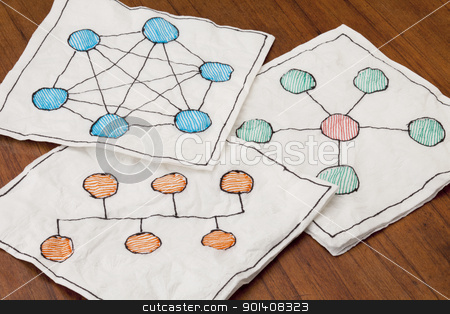 computer network schematics stock photo, different network schematics sketched on three white napkins placed on a coffee table by Marek Uliasz